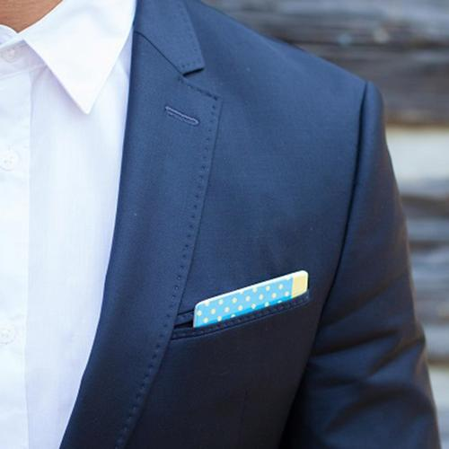 Wooden Pocket Square | Yellow Dots