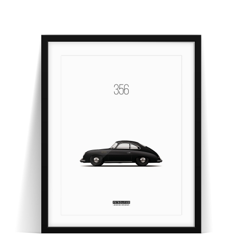 car prints, Porsche 356 Monochrome, luxury car art