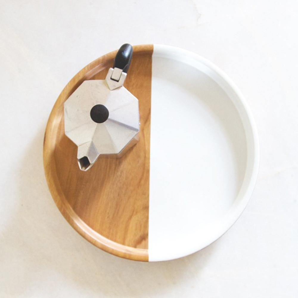 White Dipped Teak Tray, Rose & Fitzgerald
