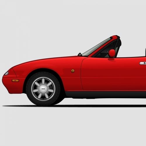 Mazda MX-5 Miata Generations Print, Unrivaled