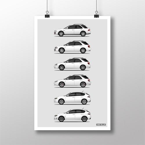 Subaru WRX Wagon/HB Generations Print