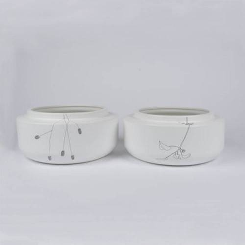 Flor Bowl, Set of 2 - Floral Ceramic Bowl by Dutch Ceramicist Elke van den Berg
