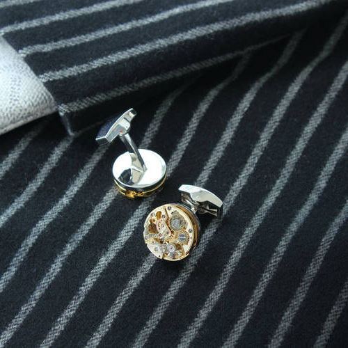 The Gemini - Steel Cufflinks made from Watch Movements
