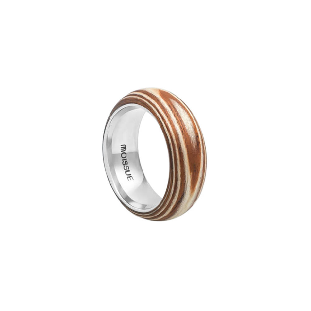 Duo Wide Ring- Wood Skin and Stainless Steel Ring