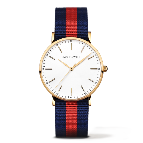 Gold Line Watch, Navy Blue/Red - Paul Hewitt