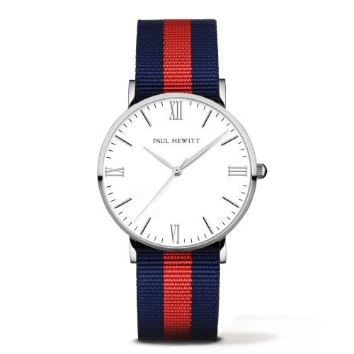 Silver Line Watch, Navy/Red
