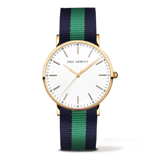 Gold Line Watch, Navy/Green
