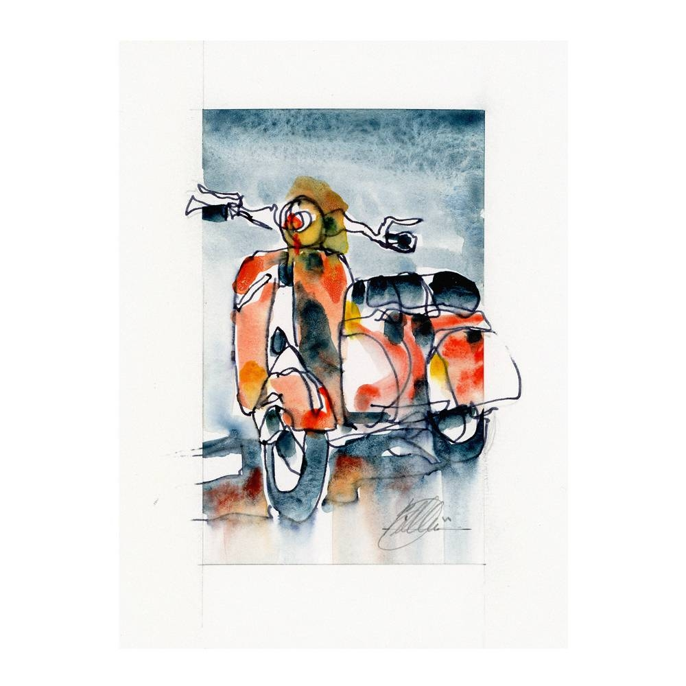 Vespa Scooter Watercolor Print | By The Artist Bilbeisi