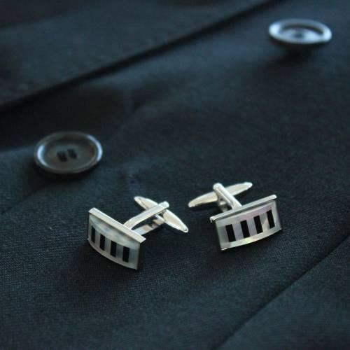 FlipMyTie Black & White Piano Cufflink