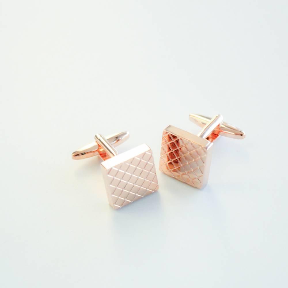 Gold Checkered Cufflink - FlipMyTie