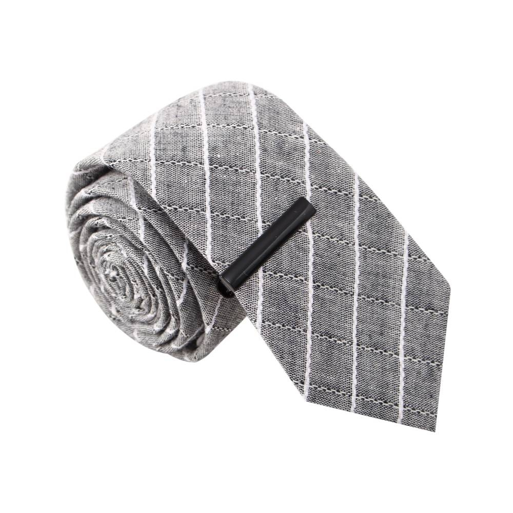 Zack's Cell Phone Grey Tie with Tie Clip