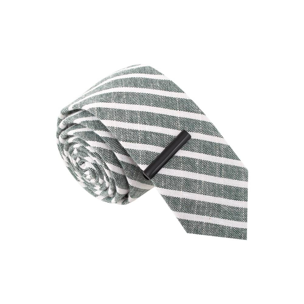 Grey and White Striped Skinny Tie with Tie Bar