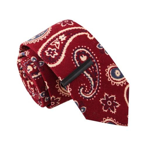 'Paisley Pays' Red Tie with Tie Clip