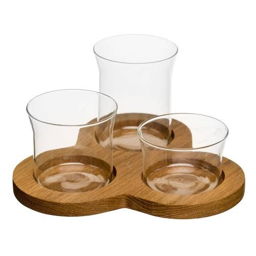 3 Glass Serving Bowls | Oak Board | Dips/Crudites | Sagaform
