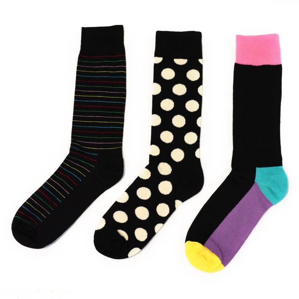 Socks | White & Black Polka Dots & Color Block | Happy Socks