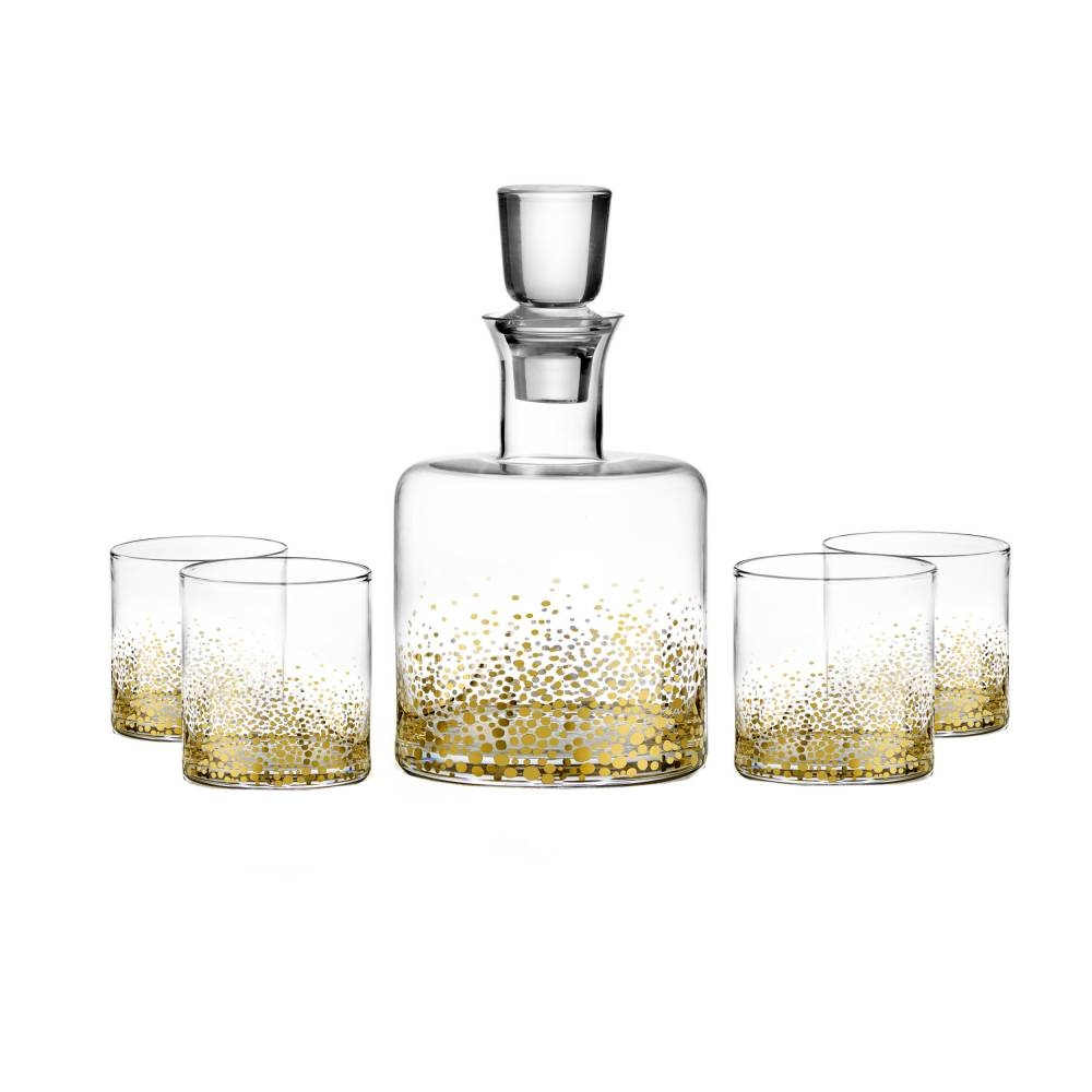 Gold Luster Whiskey Decanter Set of 5 | Jay Companies