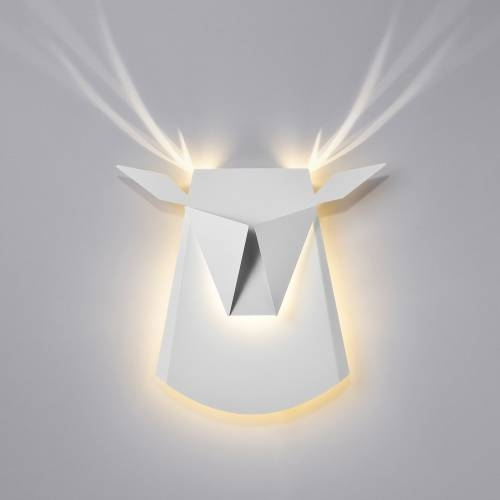 Aluminum Deer Head LED Light Fixture | Electricity Hardwire
