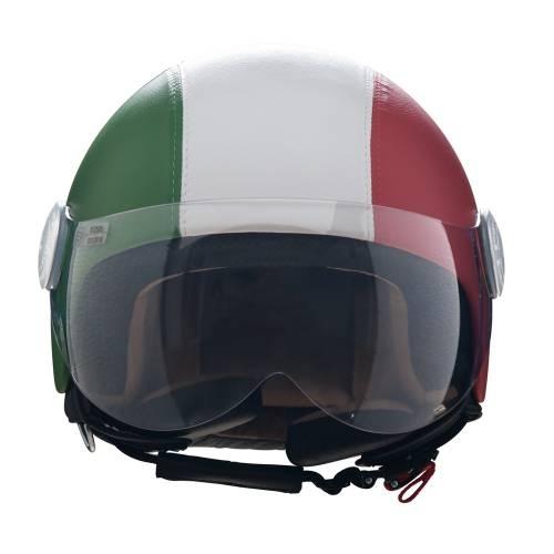 Leather Helmet   Italian Flag