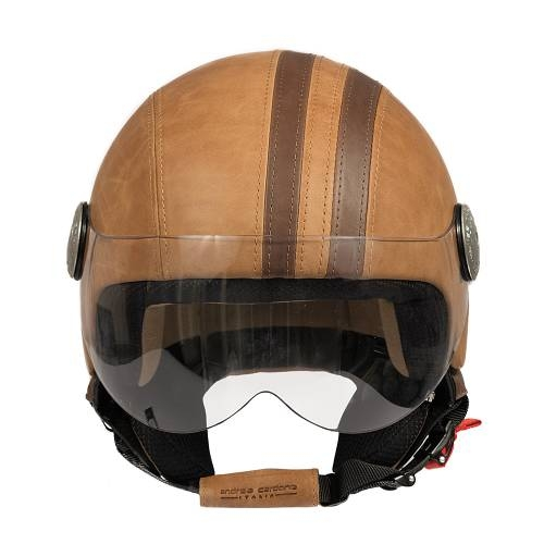 Leather Helmet | Brown Vintage Band