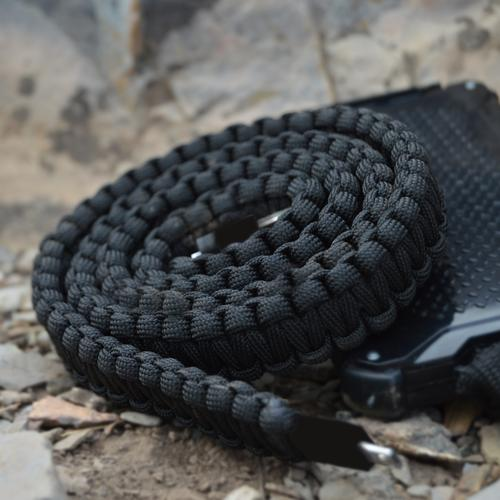 Paracord Lightning Charging Cable   Black