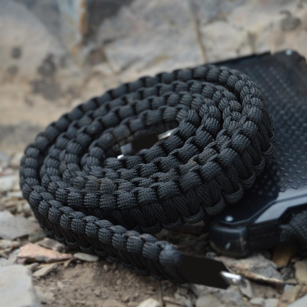 Paracord Charging Cable   Black   Dark Energy
