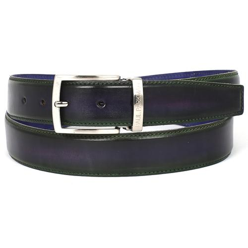 Men's Leather Belt Dual Tone | Green & Purple