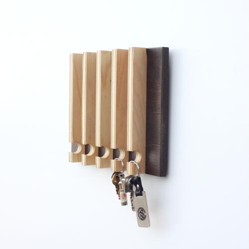 Linear Modern Key Rack | 5 Hooks | Wood Butcher Designs