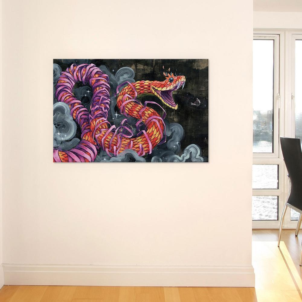 Black Flies Change Colors by Black Ink Art Canvas Print