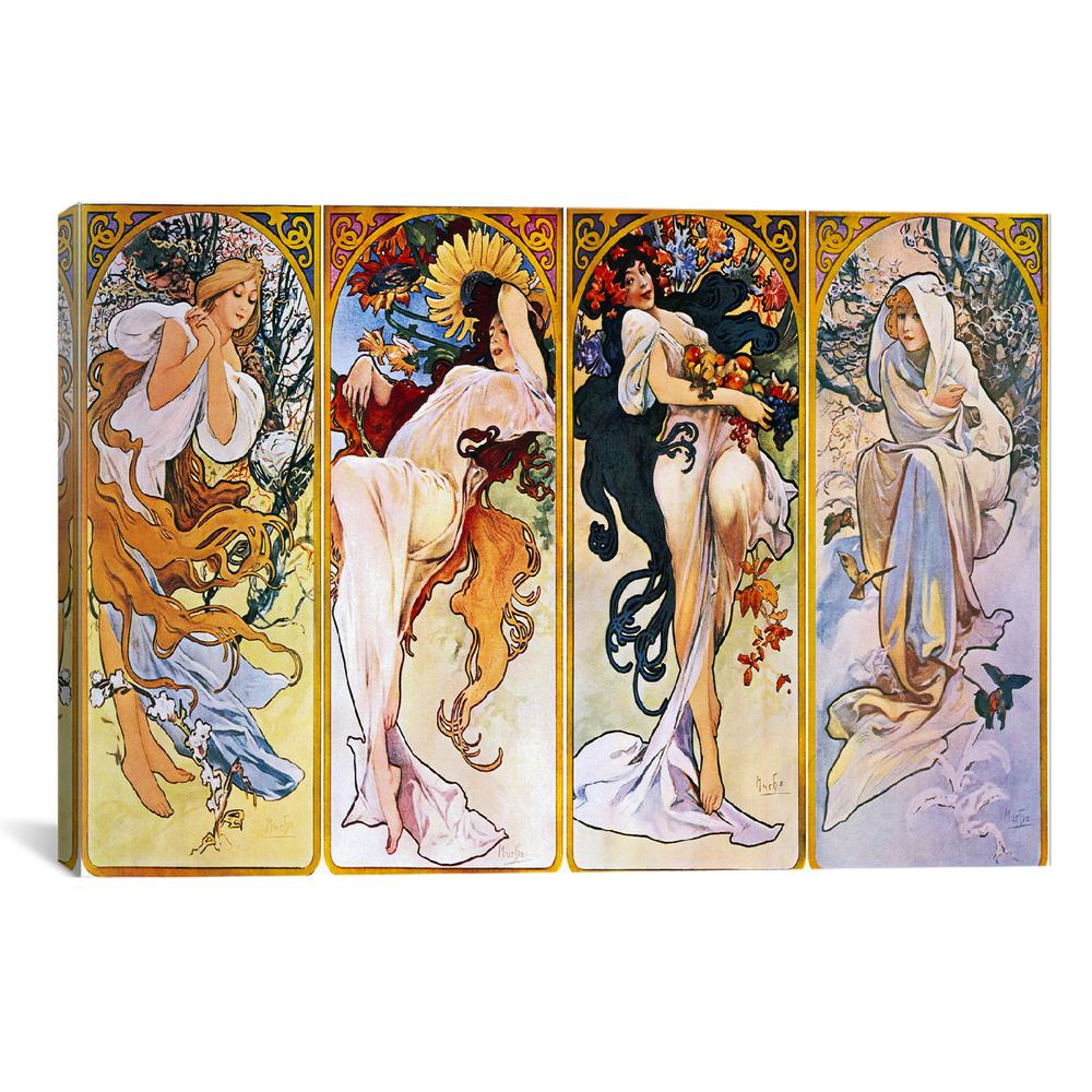 The Four Seasons (1895) by Alphonse Mucha Canvas Print