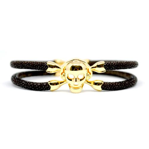 Bracelet | Single Skull | Brown/Gold