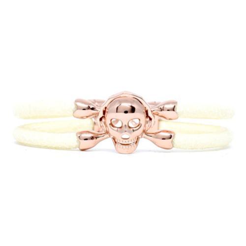 Bracelet | Single Skull | White/Rose Gold