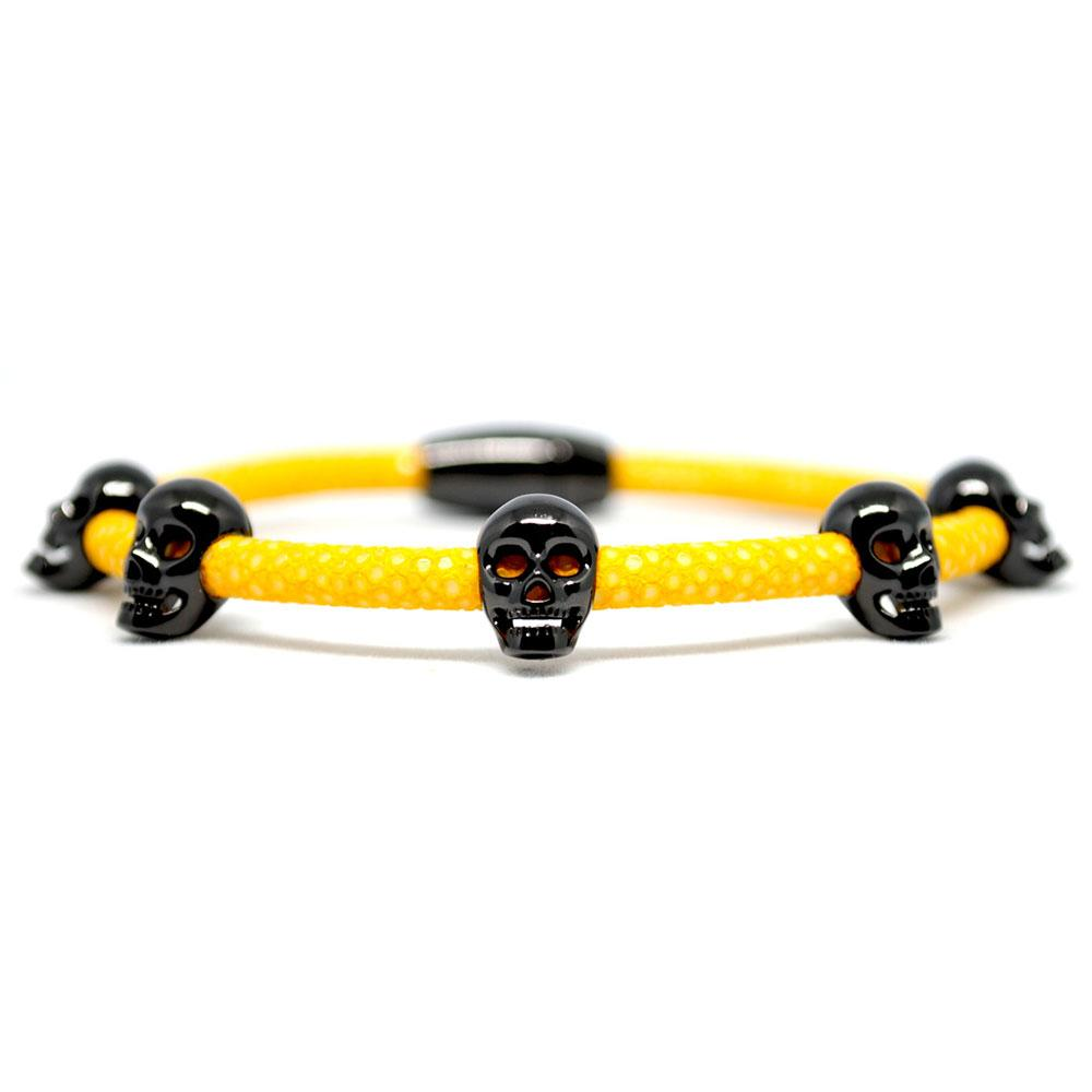 Skull Bracelet | Yellow with Black Skulls | Double Bone