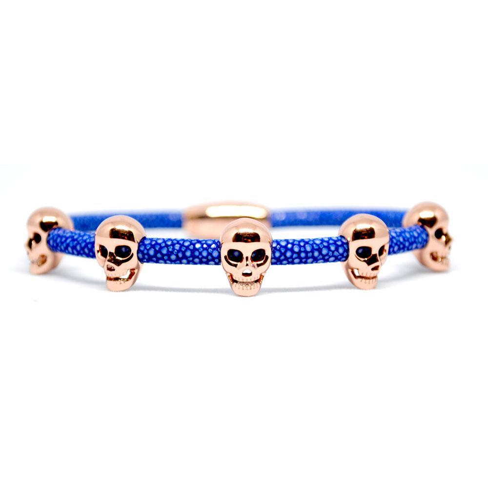Skull Bracelet   Blue with Rose Gold Skulls   Double Bone