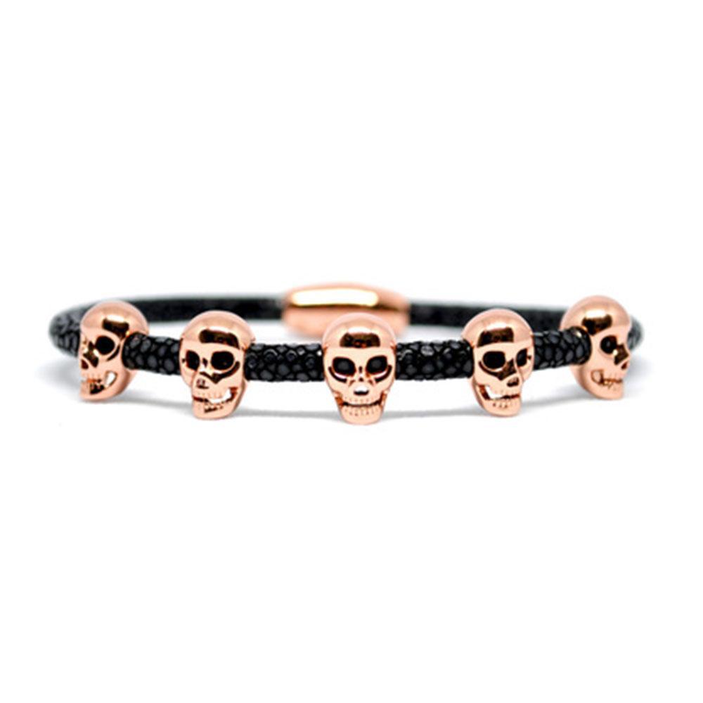 Skull Bracelet   Black with Rose Gold Skulls   Double Bone