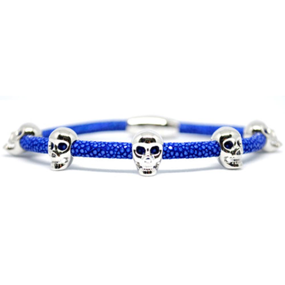 Skull Bracelet | Blue with Silver Skulls | Double Bone