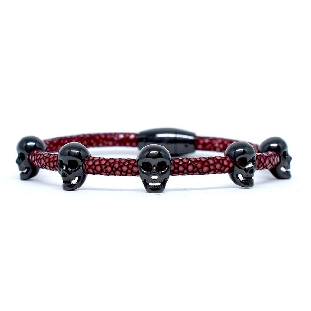 Skull Bracelet | Red Wine with Black Skulls | Double Bone