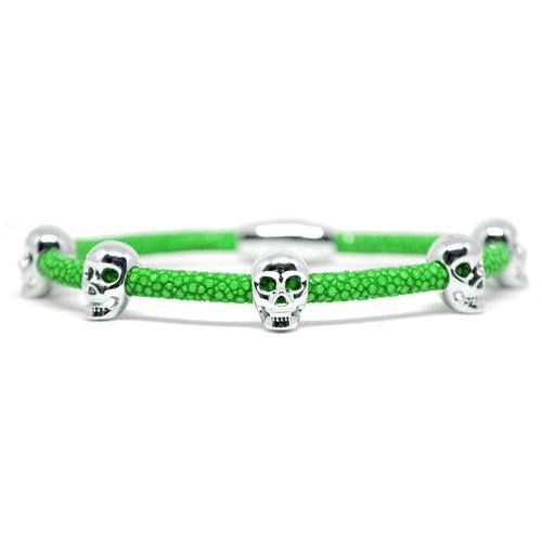 Bracelet | Multi Skull | Green/Silver