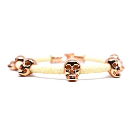 Bracelet | Multi Skull | White/Rose Gold
