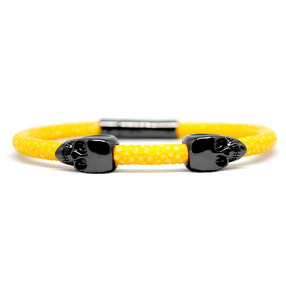 Skull Bracelet | Yellow | 2 Black Skulls | Double Bone