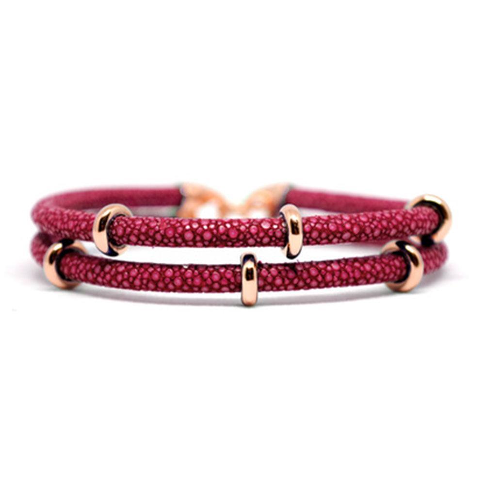 Double Stingray Bracelet   Red Wine/Rose Gold   Double Bone