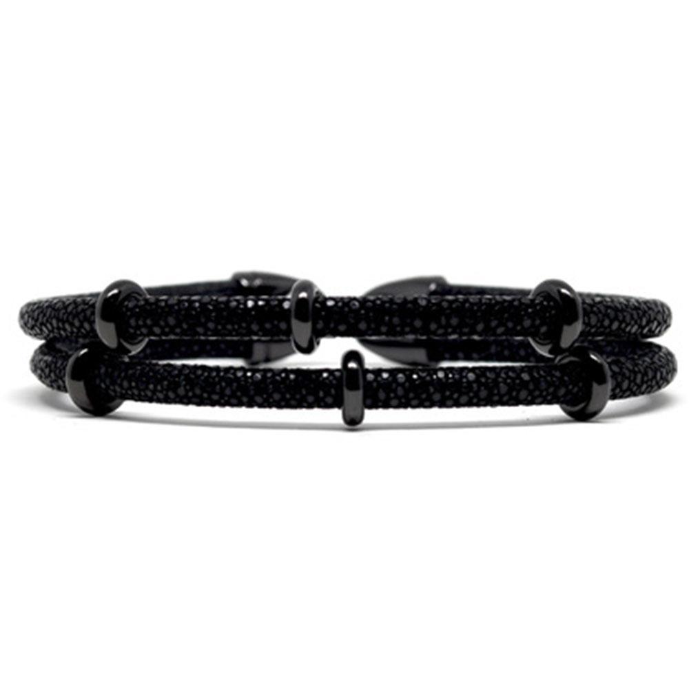 Double Stingray Bracelet   Black   Double Bone
