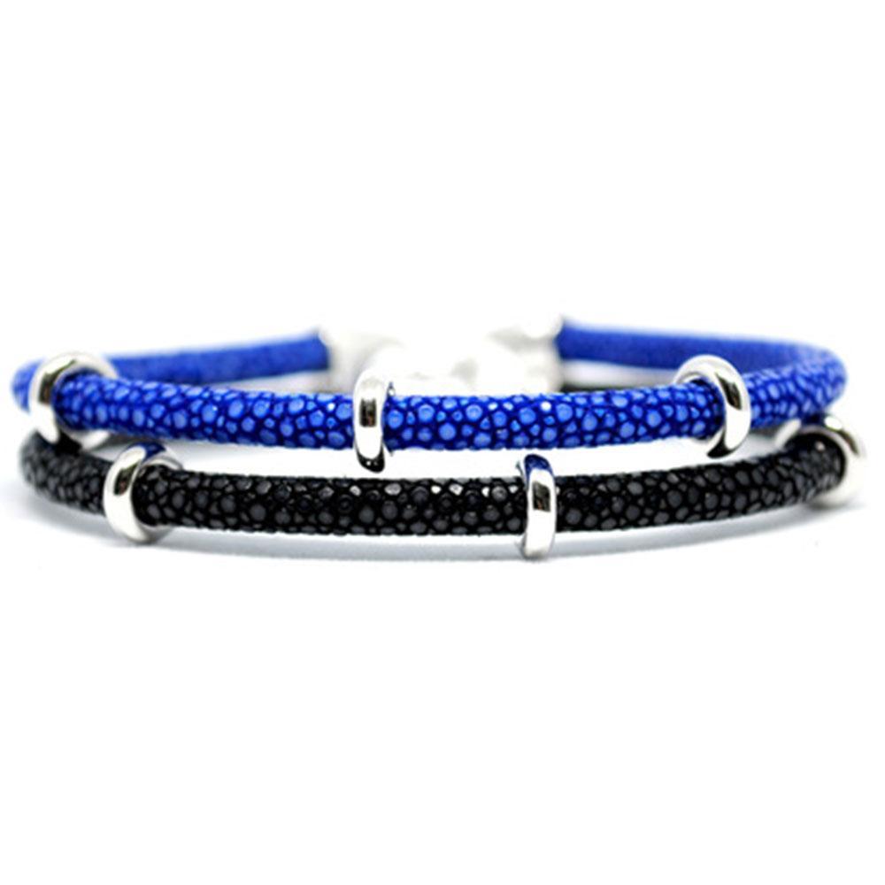 Double Stingray Bracelet   Blue/Black & Silver   Double Bone