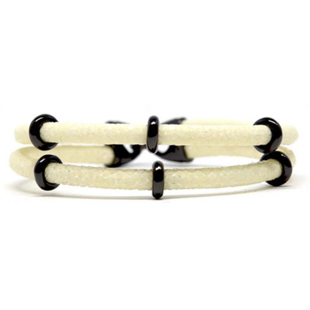 Double Stingray Bracelet   White & Black   Double Bone