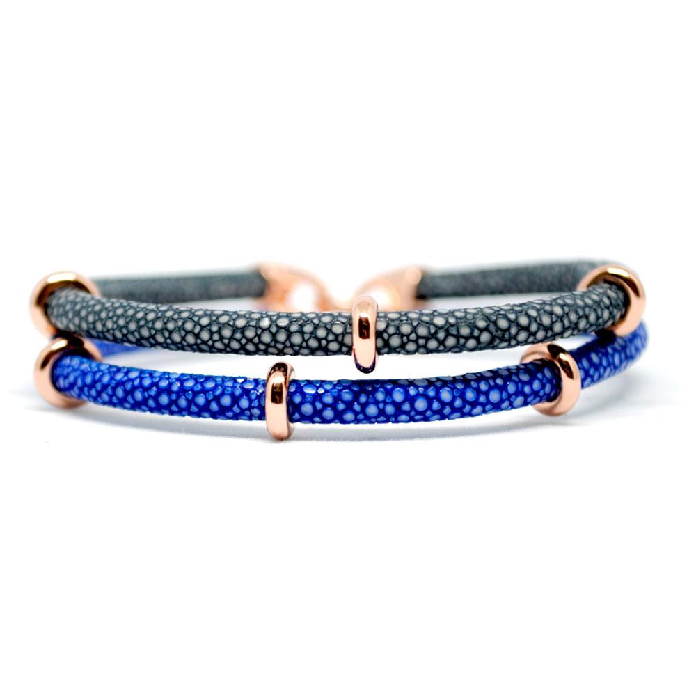 Double Stingray Bracelet | Blue/Gray/Rose Gold | Double Bone