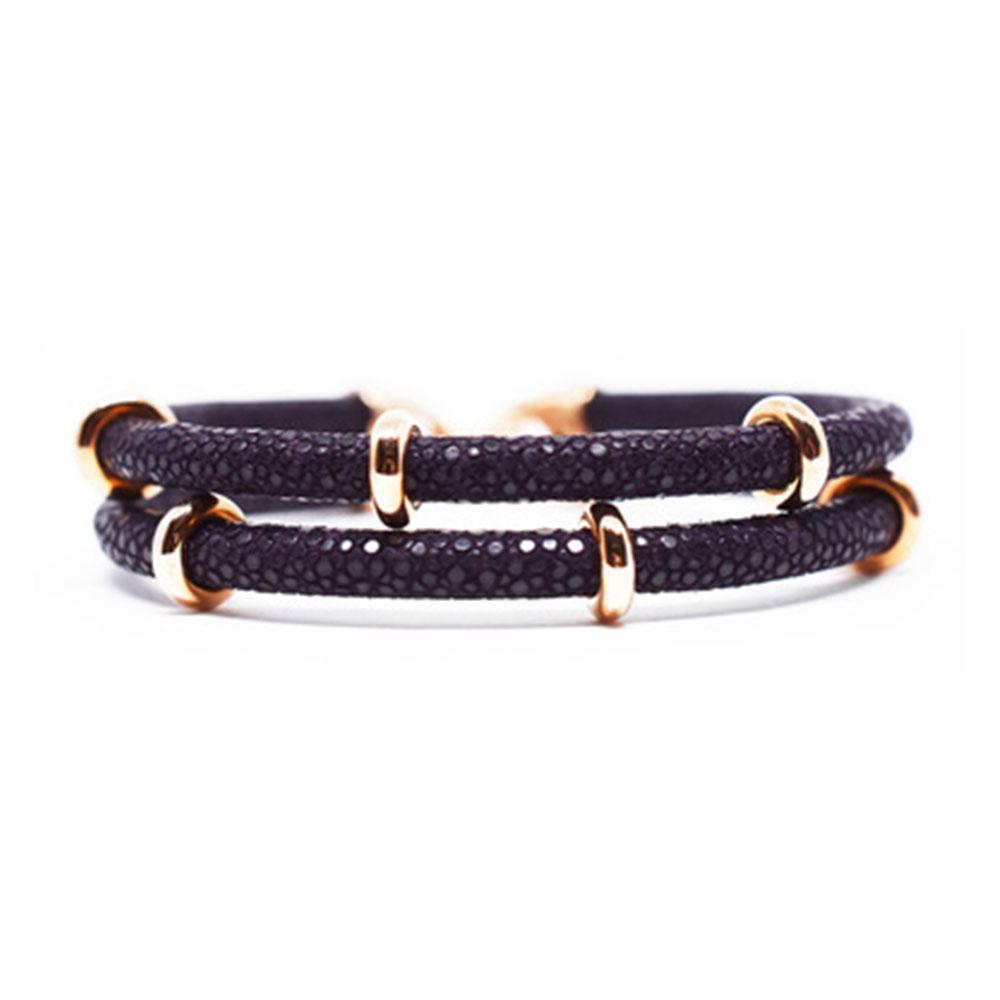 Double Stingray Bracelet | Purple & Rose Gold | Double Bone