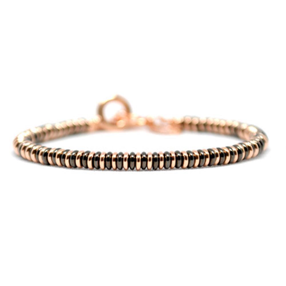 Single Beaded Bracelet | Black/Rose Gold Beads | Double Bone