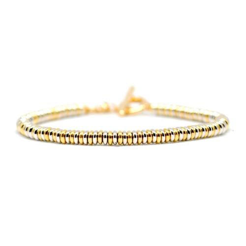 Bracelet | Single Beads | White/Gold