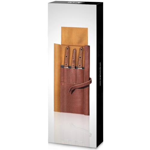 W Series   4-Piece Knife Set   Teak / Leather   Cangshan