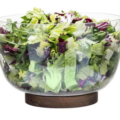 Glass Salad Bowl With Oak Trivet   Sagaform