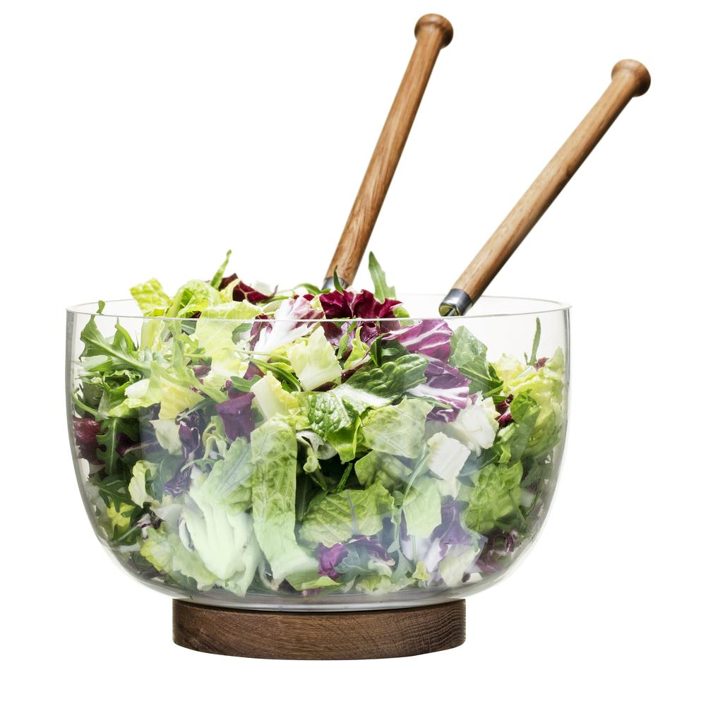 Glass Salad Bowl With Oak Trivet | Sagaform